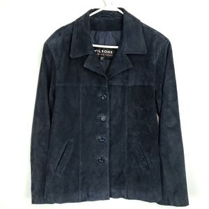 Wilsons Leather Jacket Blazer Navy Blue Button Up